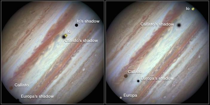 Three of Jupiter's largest moons move across its face.